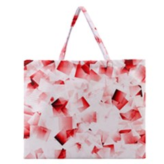 Modern Red Cubes Zipper Large Tote Bag