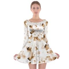 Modern Brown Cubes Long Sleeve Skater Dress