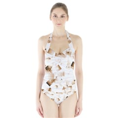 Modern Brown Cubes Women s Halter One Piece Swimsuit