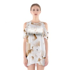 Modern Brown Cubes Cutout Shoulder Dress