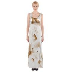 Modern Brown Cubes Maxi Thigh Split Dress