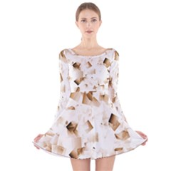 Modern Brown Cubes Long Sleeve Velvet Skater Dress