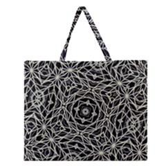 Polygons Pattern Print Zipper Large Tote Bag