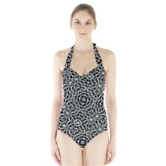 Polygons Pattern Print Women s Halter One Piece Swimsuit