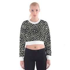 Polygons Pattern Print Women s Cropped Sweatshirt