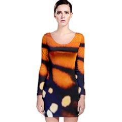 Butterfly Design 2 Long Sleeve Velvet Bodycon Dress