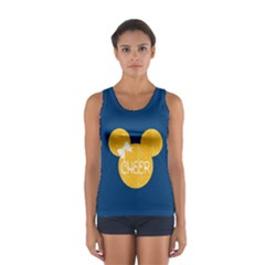 Navy & Yellow Cheer Mouse Sport Tank Top