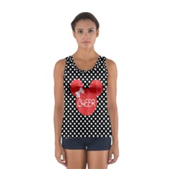 Black/White Polka & Red Cheer Mouse Sport Tank Top