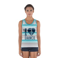 I Heart Dance In Turquoise Sport Tank Top