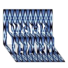 Blue White Diamond Pattern  Work Hard 3d Greeting Card (7x5)