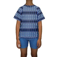 Blue White Diamond Pattern  Kid s Short Sleeve Swimwear
