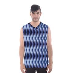 Blue White Diamond Pattern  Men s Basketball Tank Top