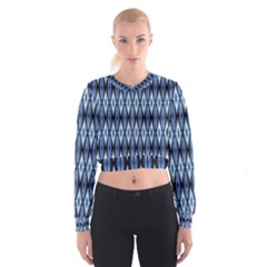 Blue White Diamond Pattern  Women s Cropped Sweatshirt