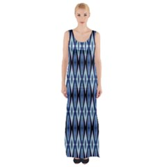 Blue White Diamond Pattern  Maxi Thigh Split Dress