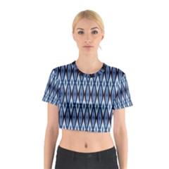 Blue White Diamond Pattern  Cotton Crop Top