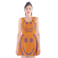 Comic Book Smiley Dots Scoop Neck Skater Dress