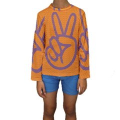 Comic Book Peace Dots Kid s Long Sleeve Swimwear