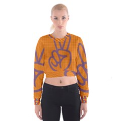 Comic Book Peace Dots Women s Cropped Sweatshirt