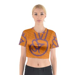 Comic Book Peace Dots Cotton Crop Top