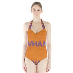 Comic Book Wham Dots Women s Halter One Piece Swimsuit