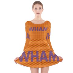 Comic Book Wham Dots Long Sleeve Velvet Skater Dress