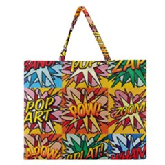 Comic Book Multiple Zipper Large Tote Bag