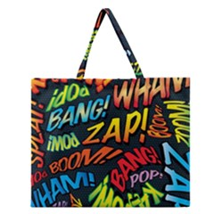 Comic Book Sounds Zipper Large Tote Bag
