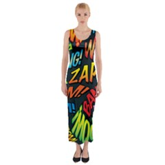 Comic Book Sounds Fitted Maxi Dress