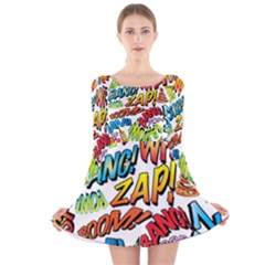 Comic Book Sounds Long Sleeve Velvet Skater Dress