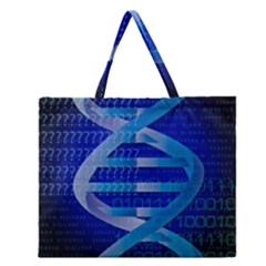 Dna Identity Zipper Large Tote Bag