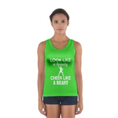 Look Like a Beauty, Cheer Like a Beast in Lime Green  Sport Tank Top