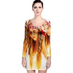 Indian 26 Long Sleeve Velvet Bodycon Dress