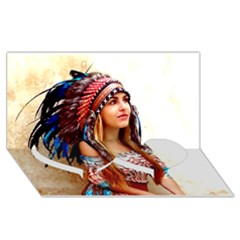 Indian 21 Twin Heart Bottom 3d Greeting Card (8x4)