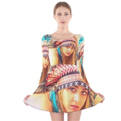 Indian 14 Long Sleeve Velvet Skater Dress