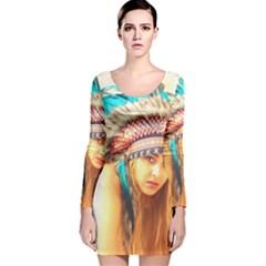 Indian 14 Long Sleeve Velvet Bodycon Dress