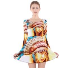 Indian 12 Long Sleeve Velvet Skater Dress