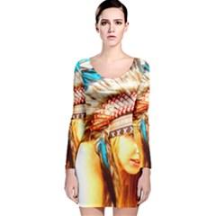 Indian 12 Long Sleeve Velvet Bodycon Dress