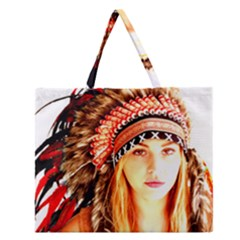 Indian 3 Zipper Large Tote Bag