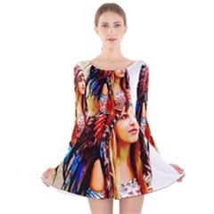Indian 22 Long Sleeve Velvet Skater Dress