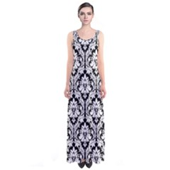 Black & White Damask Pattern Sleeveless Maxi Dress