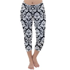 Black & White Damask Pattern Capri Winter Leggings