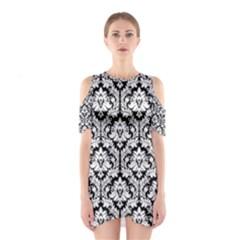 Black & White Damask Pattern Women s Cutout Shoulder Dress