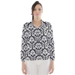 Black & White Damask Pattern Wind Breaker (Women)