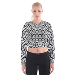 Black & White Damask Pattern Women s Cropped Sweatshirt