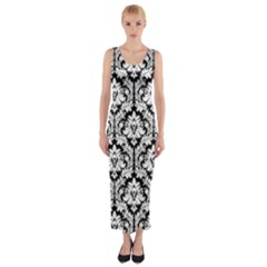 Black & White Damask Pattern Fitted Maxi Dress