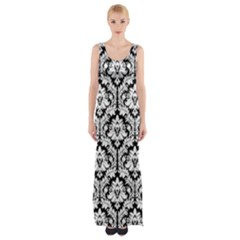 Black & White Damask Pattern Maxi Thigh Split Dress