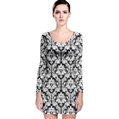 Black & White Damask Pattern Long Sleeve Velvet Bodycon Dress