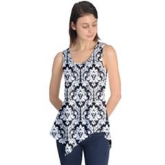 Black & White Damask Pattern Sleeveless Tunic