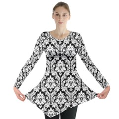 Black & White Damask Pattern Long Sleeve Tunic