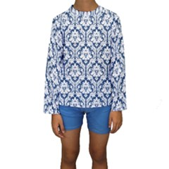 White On Blue Damask Kid s Long Sleeve Swimwear